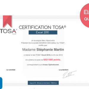 Formation TOSA® VBA Excel 2016 à distance
