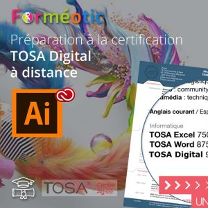 Pass complet certifiant TOSA Illustrator à distance
