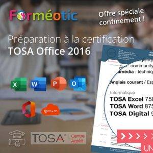 Pass Full TOSA Office 2019  complet certifiant à distance