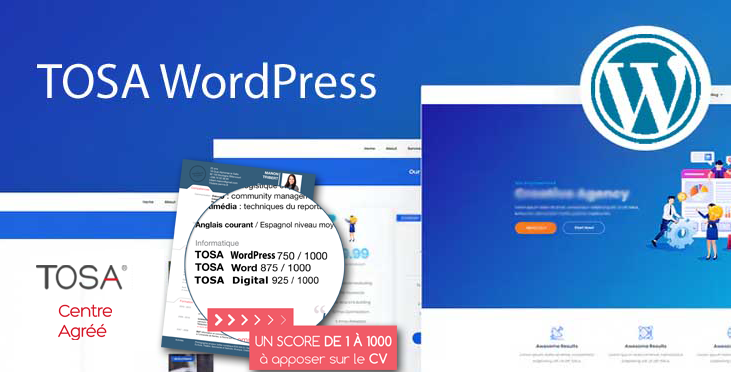 Nouveau ! Formation & Certification TOSA WordPress à distance